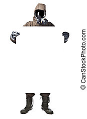 Man in Hazard Suit holding a billboard - A man wearing an...