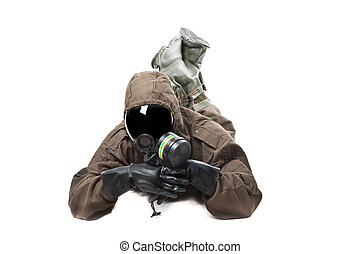 Man in Hazard Suit in a funny position