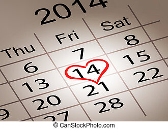 Valentines Day Calendar February 14 of Saint Valentines day...