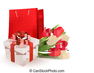 Valentine's day background with gift box and flowers. Vector.