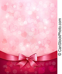 Holiday background with gift pink bow and ribbon. Valentines...