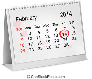 Calendar with hand written red heart February 14 of Saint...