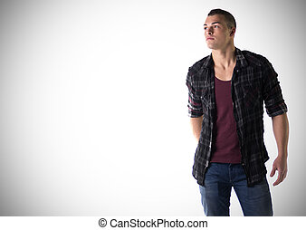 Handsome young man with t-shirt and checkered shirt, large...