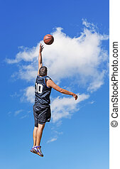 lay up in the sky - basketball player shooting in the sky