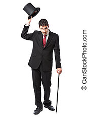 Businessman with Top Hat and walking stick in a suite