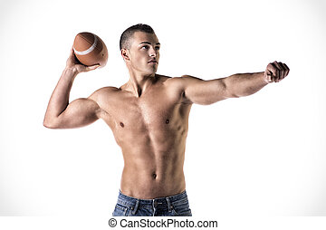 Handsome, young man shirtless, throwing american football...