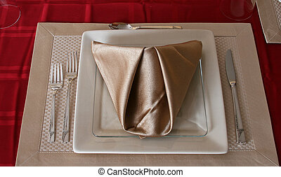 Single Place Setting - Formal place setting with folded...