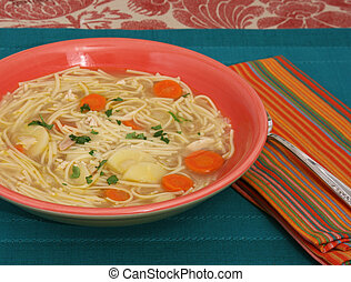 Bowl of Chicken Noodle Soup - Bowl of chicken noodle soup...