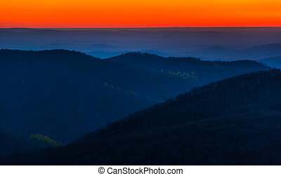 Sunrise over the Appalachian Mountains, seen from Skyline Drive in Shenandoah National Park, Virginia.