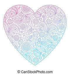 Beautiful Valentines day heart with floral ornament
