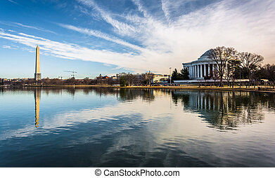 The Washington Monument and Thomas Jefferson Memorial...