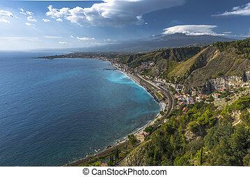 Taormina, Etna, montagne, vue