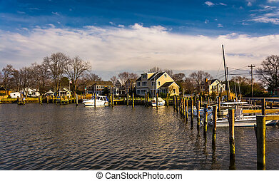 Boats in the harbor of Oxford, Maryland. - Boats in the...