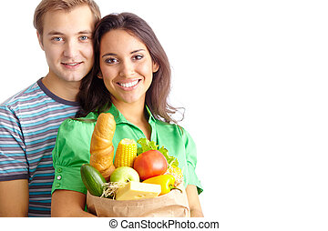 Healthy eaters - Happy couple of healthy eating followers...
