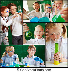 Children at chemistry lesson - Collage of cute...