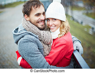 Romantic time - Image of affectionate couple looking at...