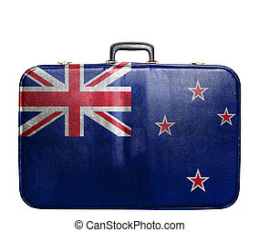 Vintage travel bag with flag of New Zealand