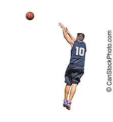 player and basketball - basketball player shooting the ball...