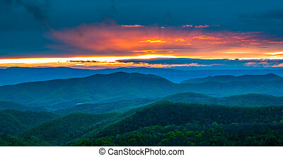 Colorful spring sunset over the Blue Ridge Mountains, seen from Skyline Drive in Shenandoah National Park, Virginia.
