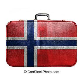 Vintage travel bag with flag of Norway