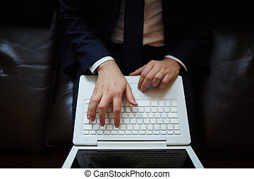 Businessman typing