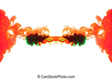 Red and green Smoke caused by water color.