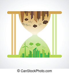 Eco and polluted city concept with sand watch stock vector
