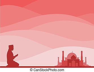 muslim praying - muslim kneeling for a pray, with a mosque...