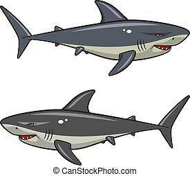 Shark - Vector illustration of sharks isolated on a white...