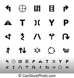 Traffic sign icons on white backgro