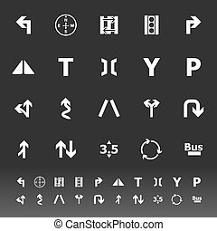 Traffic sign icons on gray backgrou