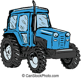 tractor - hand drawn, cartoon, sketch illustration of...