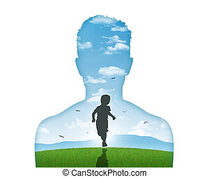 his inner child - silhouette of a young mans portrait...