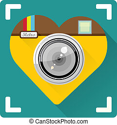 Photo Camera flat icon vector illustration - Retro Camera in...