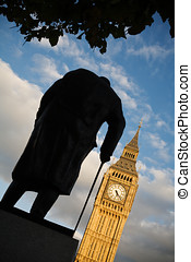 Winston Churchill Statue - Silhouette of the Winston...