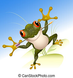 The lucky frog - Funny illustration with frog with arrow in...