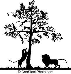 Monkeys and lions - Editable vector silhouette of monkeys in...