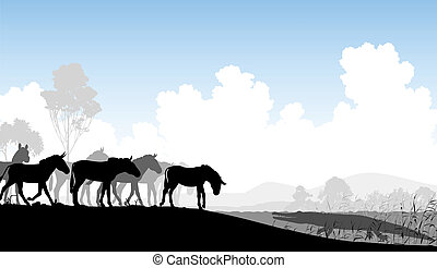 Watering hole - Editable vector illustration of a herd of...