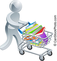 Person pushing trolley with books - A person pushing a...