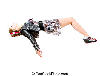 levitation - young woman levitating. isolated over white...