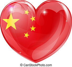 China flag love heart