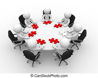 Puzzle - 3d people - man, person at a round table and puzzle...