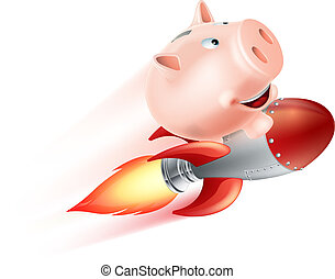 Flying Rocket Piggy Bank - An illustration of a piggy bank...