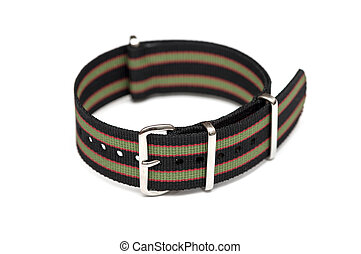Strap on a wristwatch over white background