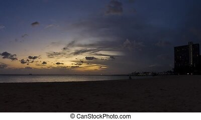 Waikiki Beach, Sunset, Timelapse - Sunset shot on the famous...