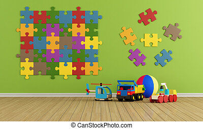 Child room with puzzle on wall and toys - rendering