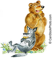 Happy cute bear and wolf eat cookies. Useful for children's...