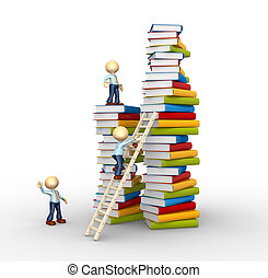 Aspiration to knowledge - 3d people - man, person and stack...