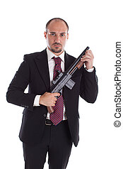 Armed Mobster or businessman with shotgun
