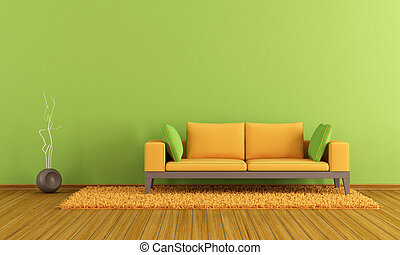 Green and orange lounge - Green and orange contemporary...